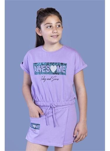 Toontoy Kids Toontoy Kız Çocuk Baskılı Şortlu Takım Lila